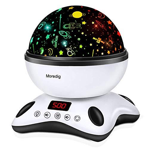 Moredig Lámpara Proyector Estrellas, 360° Rotación Músic Lampara con Temporizador...