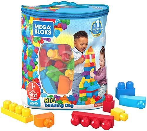 Mega Bloks Bolsa clásica con 80 bloques de construcción, juguete para bebé + 1...