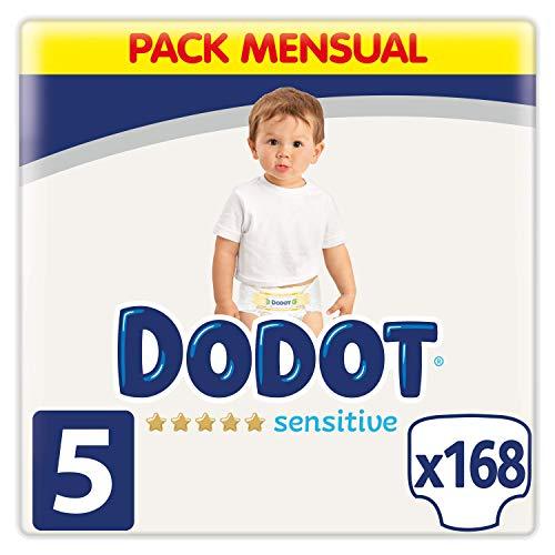 Dodot Pañales Bebé Sensitive Talla 5 (11-16 kg), 168 Pañales, Óptima Protección...