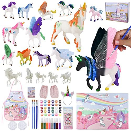 BONNYCO Unicornios para Niñas Figuras para Pintar Kit con 18 Unicornios Manualidades...