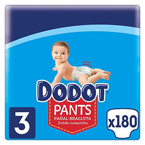 Dodot Pants Pañal-Braguita Talla 3, 180 Pañales, 6-11 kg, Pañal-Braguita con...