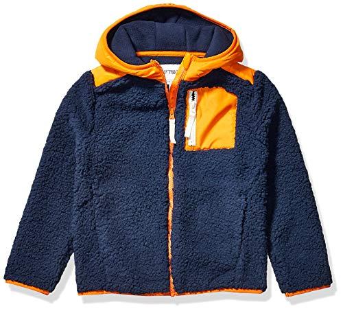 Spotted Zebra Hooded Sherpa Fleece Jacket Outerwear-Jackets, Azul marino, naranja, 3...