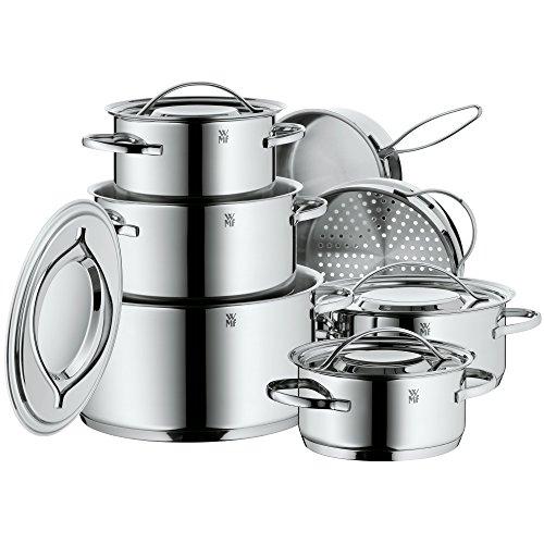 WMF Gala Plus Batería de Cocina (7 Piezas), Acero Inoxidable Cromargan, Apta para...