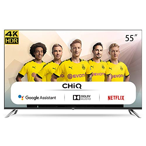 CHiQ Televisor Smart TV LED 55 Pulgadas, Resolución 4K UHD, Android 9.0, WiFi,...