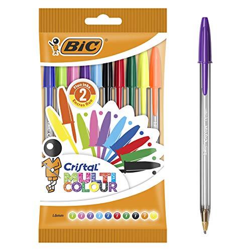BIC Cristal Bolígrafos de Colores, Multicolor, Punta Ancha (1,6mm), Material...