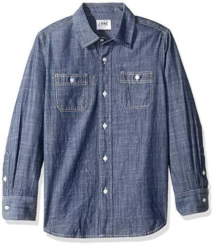 LOOK by Crewcuts - Camiseta de manga larga de cambray para niños, medio, azul...