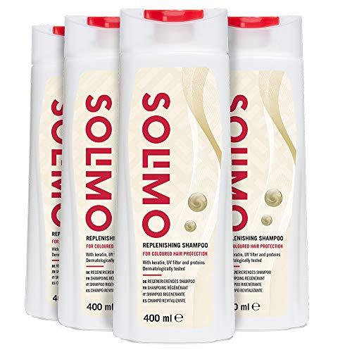 Marca Amazon - Solimo Champú revitalizante, protección para el cabello teñido, con...