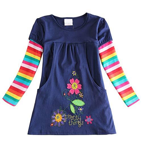 Vestido tipo camiseta para niña de algodón, corto, de manga larga, informal, bonito...