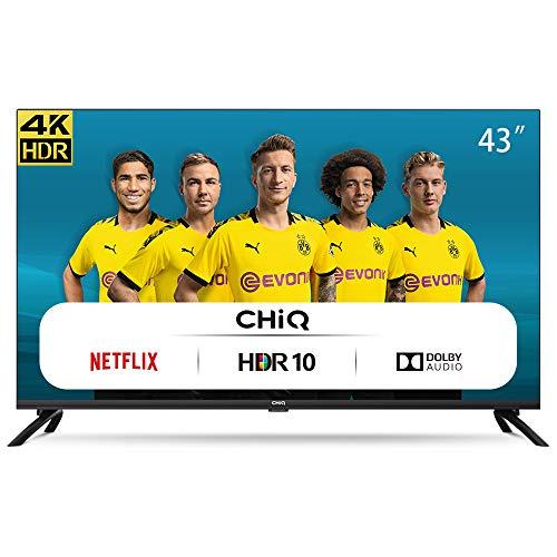 CHiQ Televisor Smart TV LED 43 Pulgadas, Resolución 4K UHD, HDR 10/HLG, WiFi,...