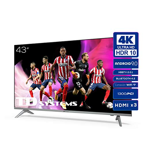 TD Systems K43DLJ12US - Televisores Smart TV 43 Pulgadas 4k UHD Android 9.0 y HBBTV,...