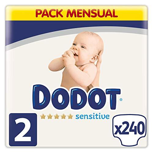 Dodot Pañales Bebé Sensitive Talla 2 (4-8 kg), 240 Pañales, Óptima Protección de...