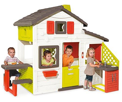 Smoby-810200 Casa Friends House con Cocina Exterior, Color Verde/Gris/Rojo/Blanco,...