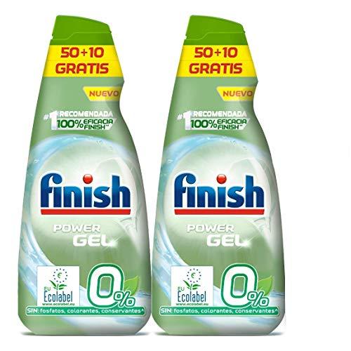 Finish Power Gel 0% Detergente Gel Lavavajilla con Certificado Ecológico, 2 unidades...