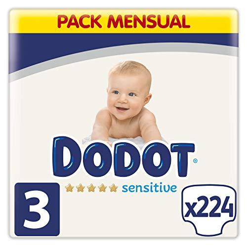 Dodot Pañales Bebé Sensitive Talla 3 (6-10 kg), 224 Pañales, Óptima Protección...