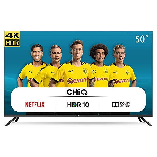 CHiQ Televisor Smart TV LED 50 Pulgadas 4K UHD, HDR 10/HLG, WiFi, Bluetooth, Youtube,...