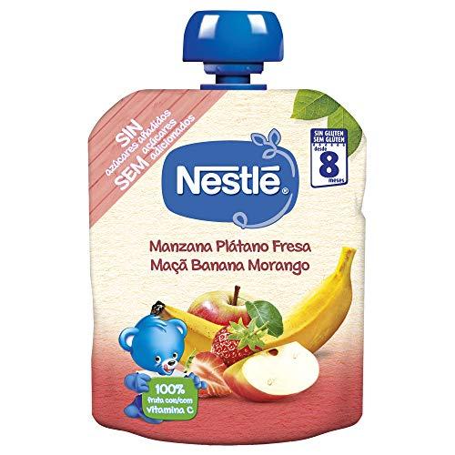 Nestlé Bolsita Puré Manzana, Plátano Y Fresa, A Partir De Los 8 Meses, 90 G - Pack...