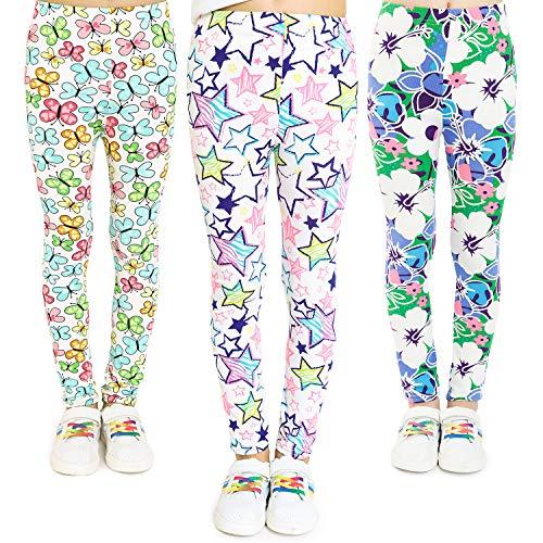 Adorel Leggings Estampado Pantalón Stretch para Niña 3 Pack Floral y Mariposa y...
